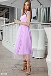 Нарядное приталенное платье длины миди с кружевом лавандовое, фото 2