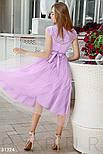 Нарядное приталенное платье длины миди с кружевом лавандовое, фото 4