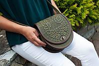 Женская кожаная оливковая сумка, полукруглая сумка через плечо, фото 1