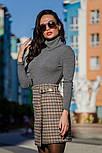 Женская теплая твидовая юбка в клетку и отдельно удлиненный пиджак (в расцветках), фото 4