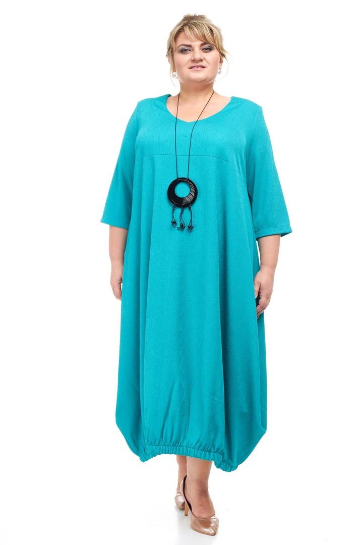 Красивое платье размера плюс Франсуаза бирюза (66-68)