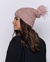 Женская зимняя шапка с бусинами