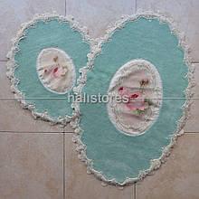 Набор ковриков для ванной комнаты с кружевами 3D Chilai бирюзовый. Турция