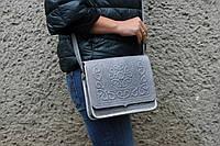 Кожаная женская сумка, серая сумка ручной работы, сумка через плечо, фото 1