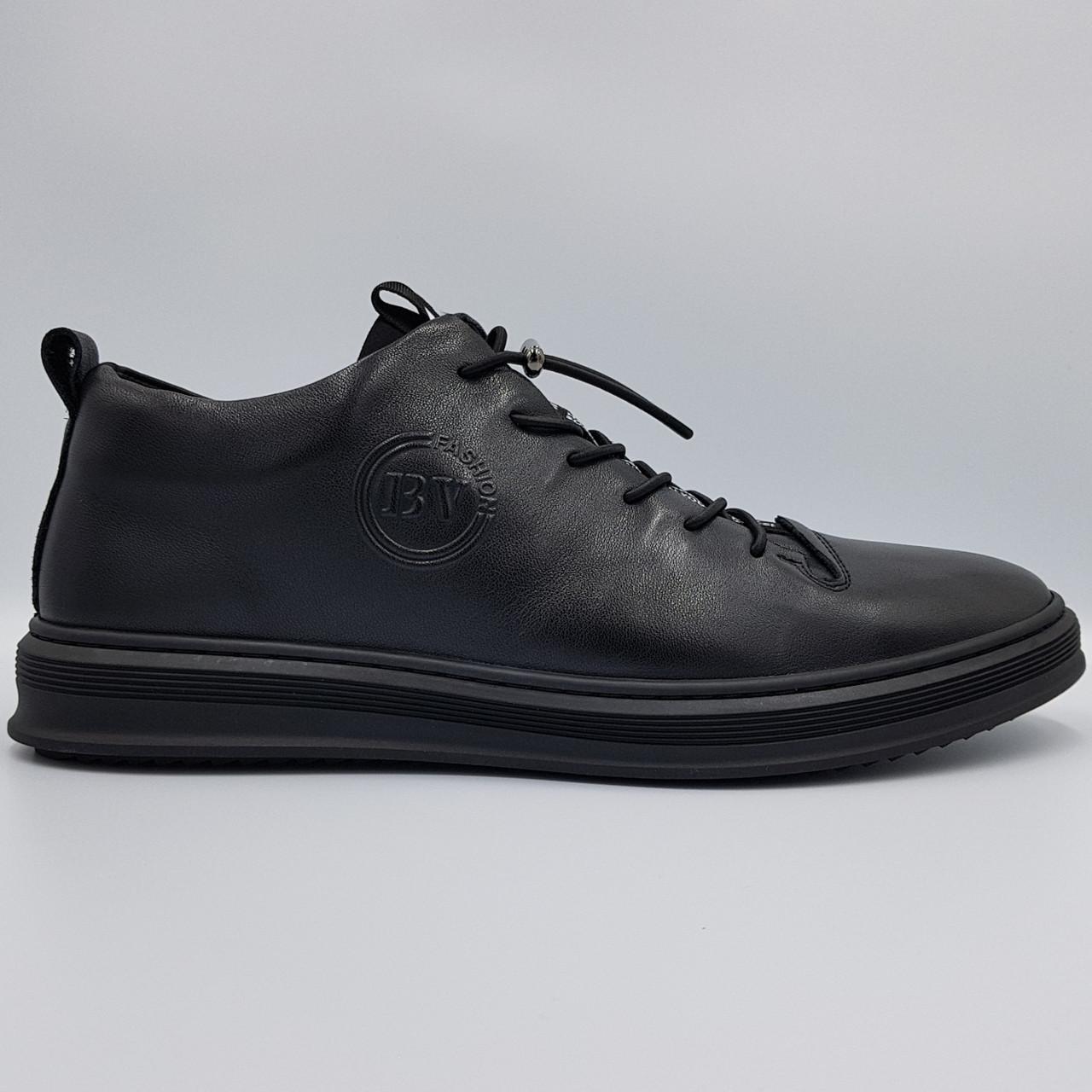 Мужские кожаные полуботинки кеды Boss Victor черные K0023/23