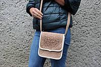 """Кожаная женская сумка, бежевая сумочка, сумка через плечо """"Триполье"""", фото 1"""