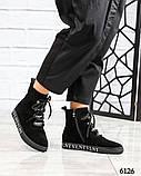 Демисезонные ботинки женские с буквами черные, фото 2