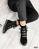 Демисезонные ботинки женские с буквами черные, фото 3