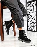 Демисезонные ботинки женские с буквами черные, фото 5