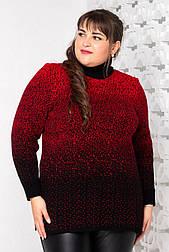 """Объёмный свитер с горлом """"Снег"""" 54, 56, 58 красный"""