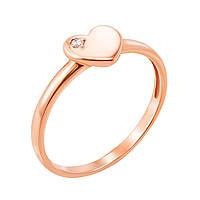 Кольцо из красного золота с фианитом 000129301 000129301 16 размер