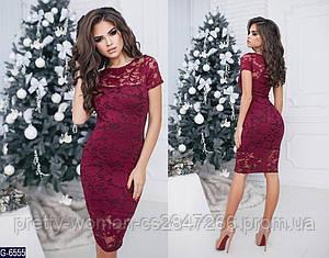 Платье гипюровое цвет бордо