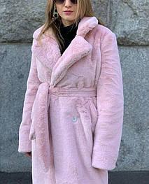 Женская шуба экомутон 44, розовый