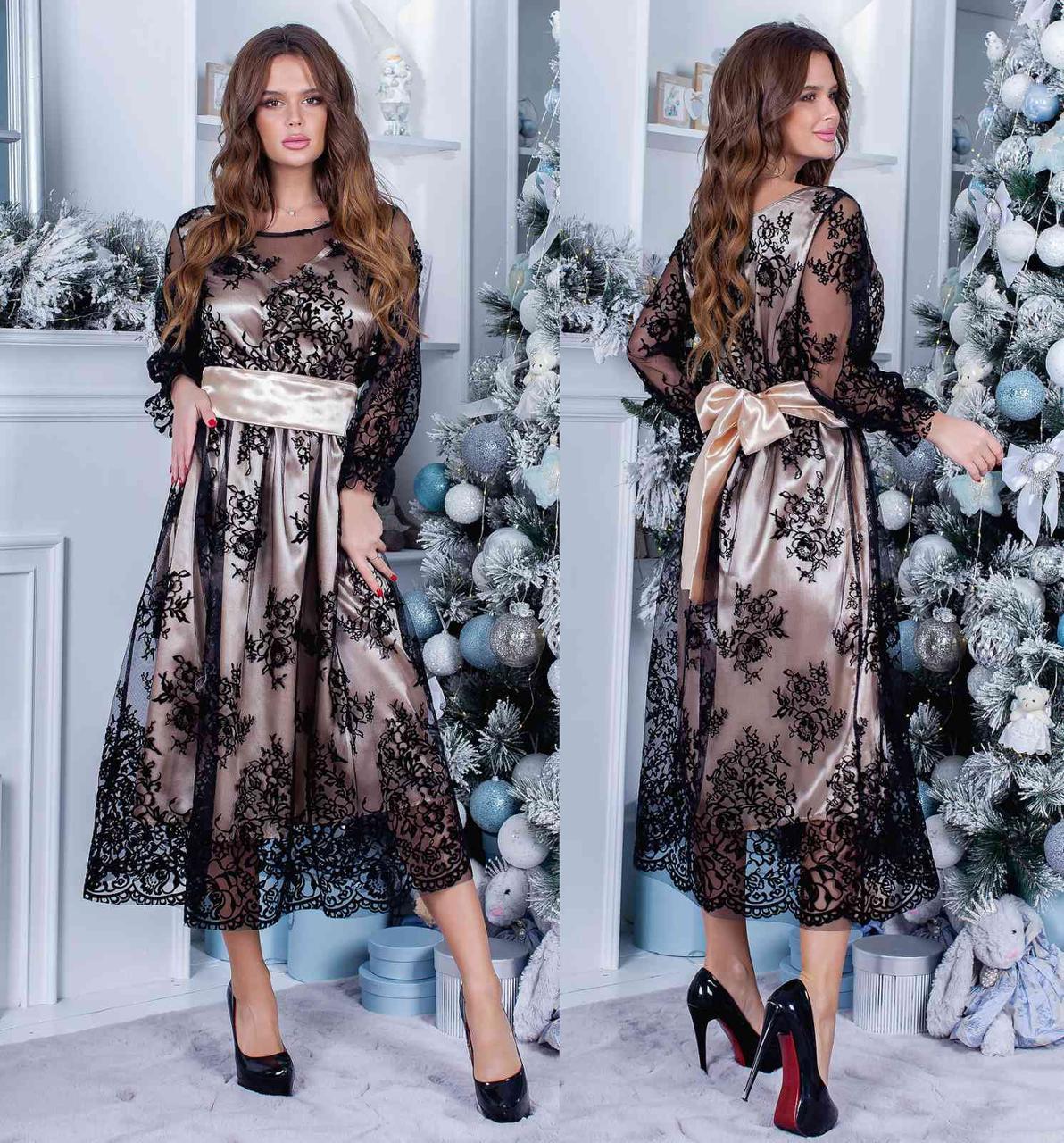 Плаття нарядне міді коктейльне в кольорах 165088