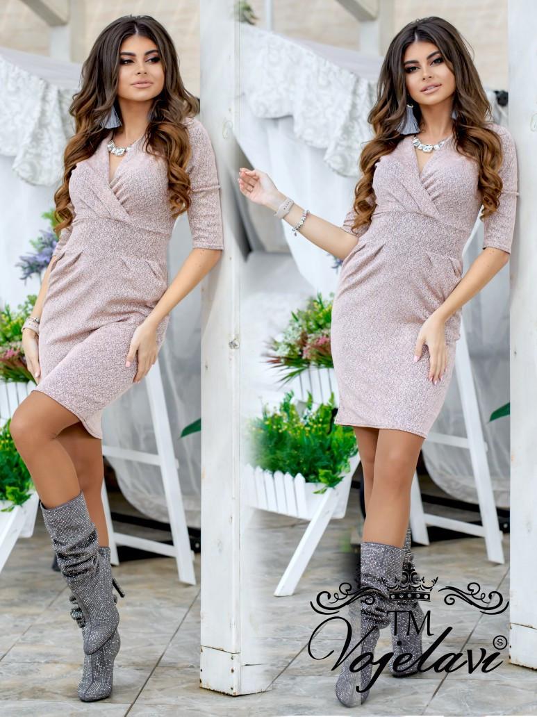 Короткое женское трикотажное платье с напылением из блёсточек 42, 44, 46