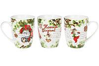 """Чашки фарфоровые """"С новым годом"""", набор из 12 шт 3 видов, 350 мл"""