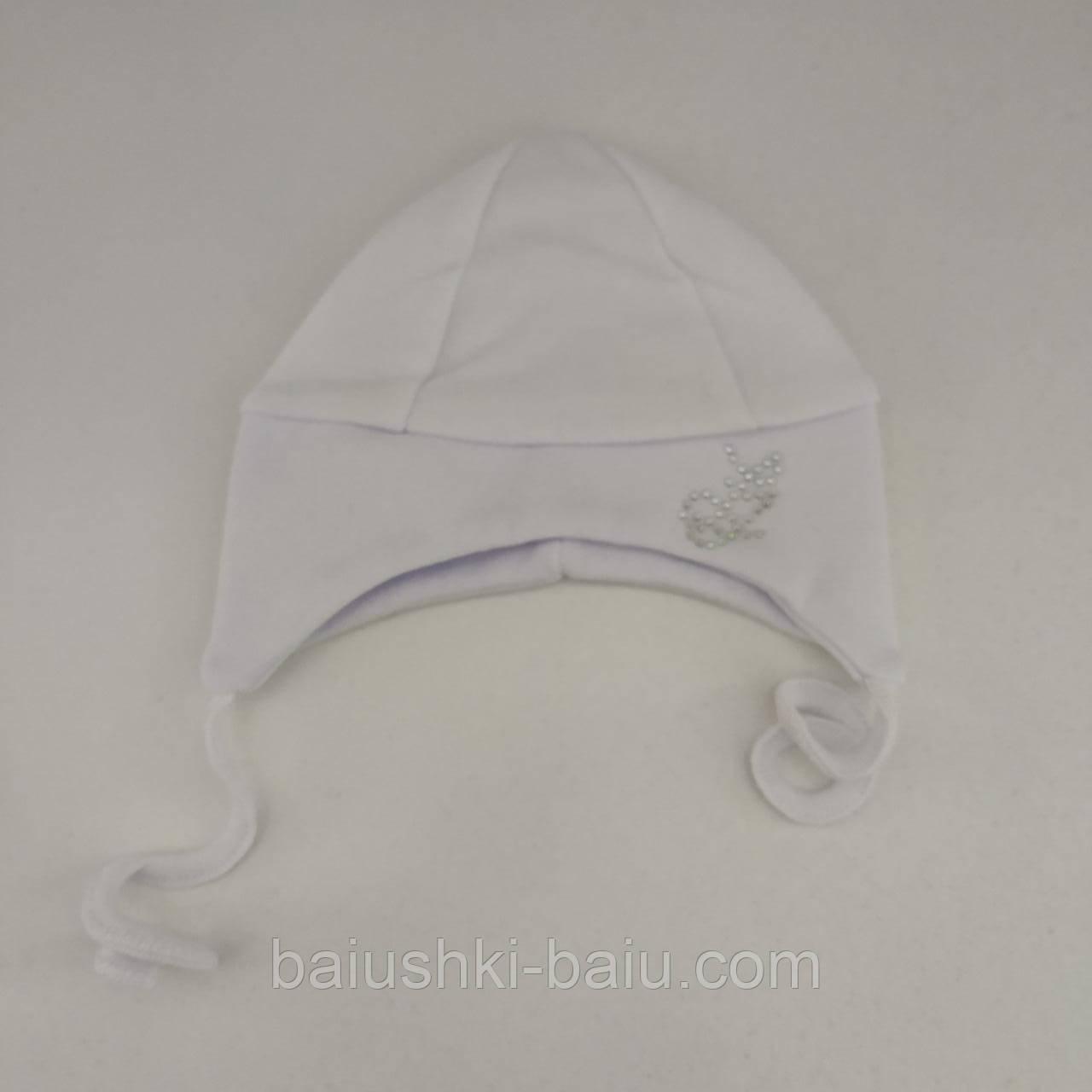 Шапка на завязках со стразами для новорожденного (интерлок), р. 0-1 мес.