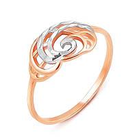 Золотое кольцо в комбинированном цвете с алмазной гранью 000130220 000130220 17 размер