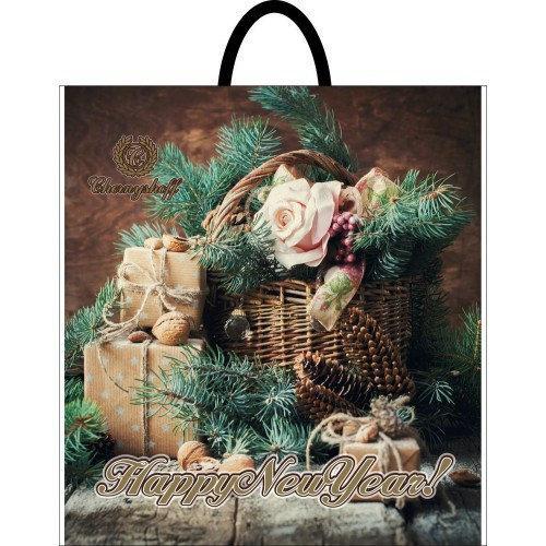 Новогодний пакет с пластиковой ручкой (собранный) Лесной 40*42 ,10 шт
