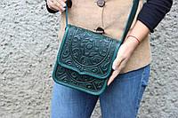 """Кожаная женская сумка, зелёная сумочка, сумка через плечо """"Триполье"""", фото 1"""