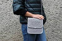 """Кожаная женская сумка, серая сумочка, сумка через плечо """"Триполье"""", фото 1"""