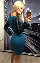 Стильное женское короткое платье с длинными рукавами из эко-кожи /разные цвета, 42-46, ft-299/, фото 2