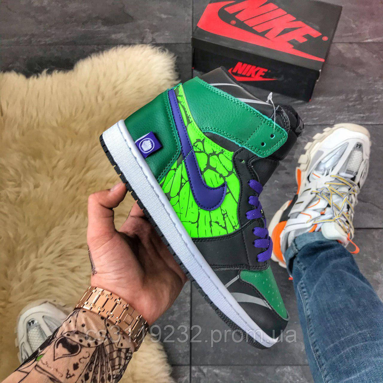 Мужские кроссовки Nike Air Jordan 1 High Green (зеленые)