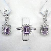 Серьги и кольцо с аметистом - серебряный комплект с аметистами Серенада