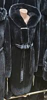 Шуба из мутона с норкой 100 см черная ШМ-04