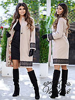 Женское кашемировое пальто под пояс с отделкой кружева декорировано жемчугом 42, 44, 46