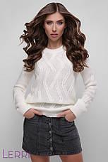Затишний зимовий жіночий светр великої в'язки вовняної, фото 2