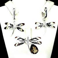 Серьги и кольцо с раухтопазом - серебряный набор женских украшений с раухтопазом Стрекоза