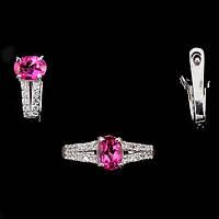 Кольцо и серьги с розовым топазом - серебряный набор женских украшений с розовым топазом Диана