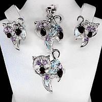 Серебряный набор с камнями Кошки - серебряные серьги, кольцо и кулон Аметист, Топаз, Гранат