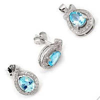 Серьги и кольцо с топазом - серебряный набор женских украшений с топазом Lady