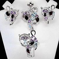 Серебряный набор женских украшений с натуральными камнями Кошки - кольцо серьги и кулон Аметист, Топаз, Гранат