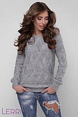 Женский повседневный свитер с круглым вырезом и красивым узором, фото 3