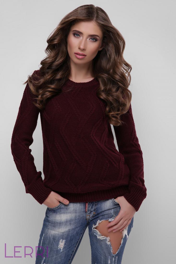 Женский повседневный свитер с круглым вырезом и красивым узором
