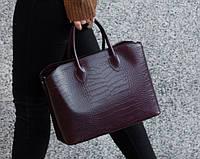 Итальянская кожаная женская сумка Laura Biaggi (374) бордовая