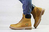 Женские ботинки зимние рыжие Timberland 6942