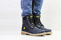 Женские ботинки зимние темно синие Timberland 6941