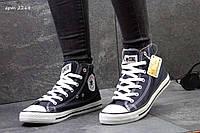 Женские высокие кеды Converse темно синие 2268