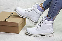 Женские зимние ботинки белые Timberland 6629