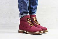 Женские зимние ботинки бордовые Timberland 6875