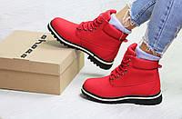 Женские зимние ботинки красные Timberland 6628