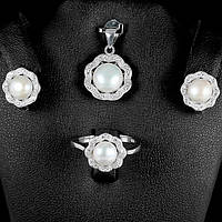 Кольцо, серьги и кулон - серебряный набор женских украшений с жемчугом