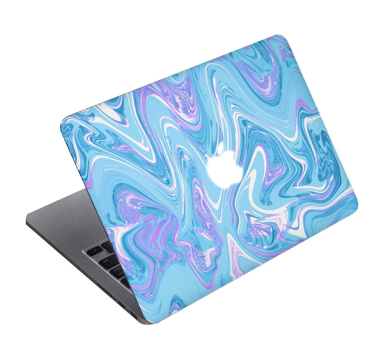 Акварельный дизайнерский чехол с светло голубым мрамором для MacBook Air 13 2018 (А1932)