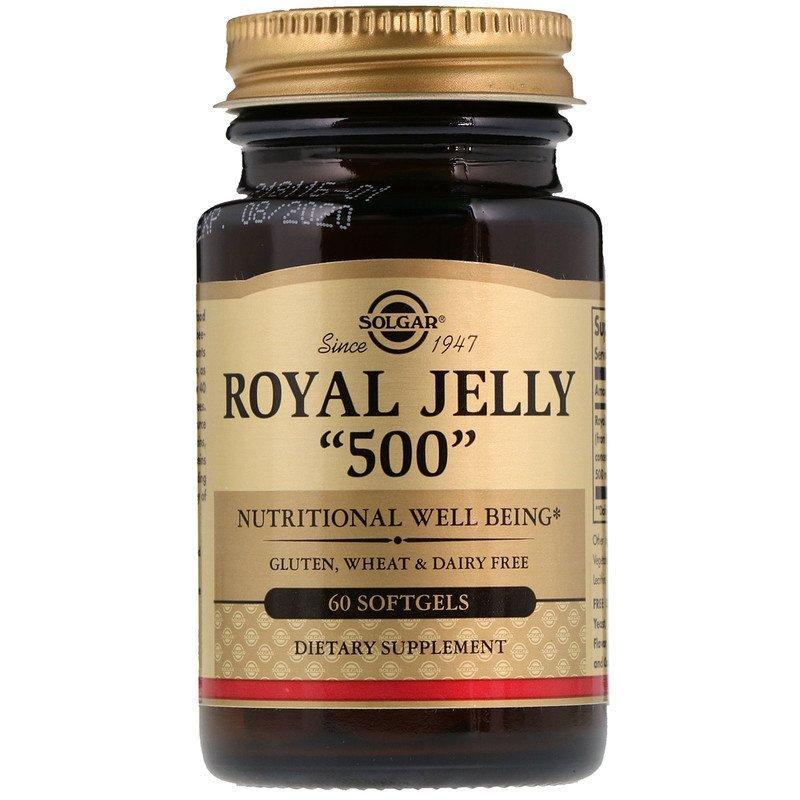 """Маточное молочко SOLGAR """"Royal Jelly"""" 500 мг (60 гелевых капсул)"""