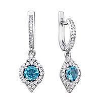 Серебряные серьги-подвески с кварцем под голубой топаз и фианитами 000133708 000133708