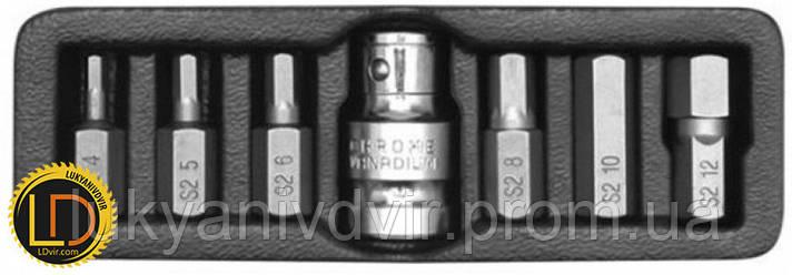 Биты Yato НЕХ 30мм с переходником 1/2 7шт, фото 2